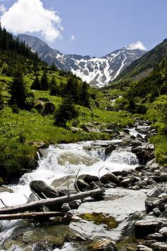 near river in the mountains