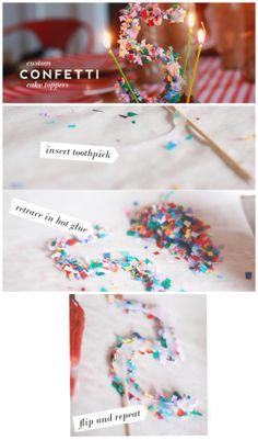 Confetti Cake Toppers – Aunt Peaches – Famous Last Words Birthday Diy, Girl Birthday, Birthday Parties, Diy Birthday Decorations, Diy Confetti, Confetti Cake, Diy Cake Topper, Birthday Cake Toppers, Ballon