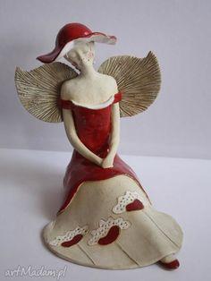 Anioł rozłożysty maki ceramika wylegarnia pomyslow aniołek