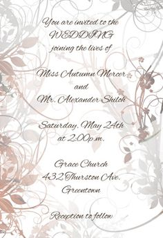 """""""Floral Swirls"""" printable invitation. Customize, add text and photos. print for free!"""