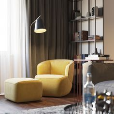 Such a sweet looking chair from Maxim Tsiabus on Behance #livingroom #yellow