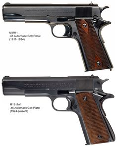 The WWI Colt M1911 and the WWII M1911A1 (USA)