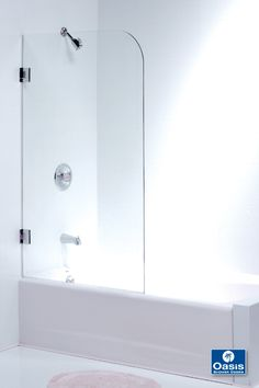 Hinged frameless spray panel for tub. Can be installed with hinges as shown or as a fixed panel with cut out in the glass for reaching through turning on water. Bathroom Shower Doors, Glass Shower Doors, Bathroom Fixtures, Shower Tub, Bathtub Enclosures, Frameless Shower Enclosures, Frameless Shower Doors, Beach Bathrooms, Small Bathroom