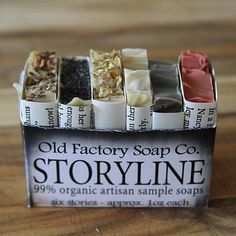 Storyline Organic Soap Sampler from Old Factory Soap Company on OpenSky (Diy Soap Scrub) Homemade Scrub, Homemade Soap Recipes, Candle Packaging, Soap Packaging, Diy Savon, Organic Packaging, Major Key, Soap Labels, Soap Company