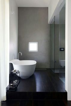 Same bathroom, but instead of grey cement, WHITE MARBLE