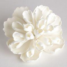 White Heirloom Peony Sugarflower handmade from gumpaste perfect for cake decorating wedding cakes and fondant cakes. Cake topper. | CaljavaOnline.com #caljava #sugarflower