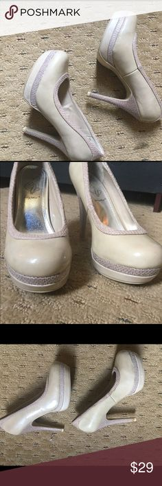 Baby Phat high heel pumps Rich and creamy pumps with a dash of fun in the reptile accents.  Very comfortable on the one day I wore them. This is size 6, and for me was too snug. Half size up would have been perfect for me which is my true size. Great condition! Baby Phat Shoes Platforms