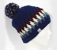 6d6c1d1ed4f Mid Slouchy Pompom Beanie Navy Blue Burgundy   Off White Crochet Beanie