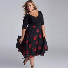 Plus Size Fashion Women Mid-Calf V-Neck Dress Floral Dress Casual Sexy Summer Dress Sundress Evening Party Dress. Features: Neckline: V-Neck Sleeve Style: Regular Style: Casual Dresses Length: Mid-Calf Material: Polyester Silhouette: Loose Sleeve Length(cm): Half Pattern Type: Floral Package Includes: 1 X Plus Size V-Neck Mid-Calf Floral Dress Product Related: Plus Size Boho Flower Print Maxi Split V-Neck Dress With Belt Note: Please compare the detail sizes with yours before you make your… Women's Plus Size Swimwear, Plus Size Bikini, Vetements Clothing, Vestidos Plus Size, Mode Plus, Looks Plus Size, Boho Dress, Casual Dresses, Stylish Dresses