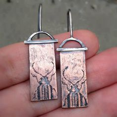 Hand Crafted Antiqued Sterling Silver & Etched Copper Earrings with Beetles on Etsy, $60.00