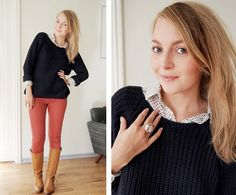 Love bright colored pants! And you can't go wrong with tall boots & a boxy sweater!