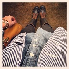 stripes, chambray, boots