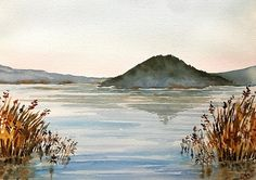 Lake Vico, Lazio region, Italy, watercolor by Giulia Gatti Watercolor And Ink, Watercolour Painting, Watercolors, Waves, Italy, Paintings, Landscape, Gallery, Drawings
