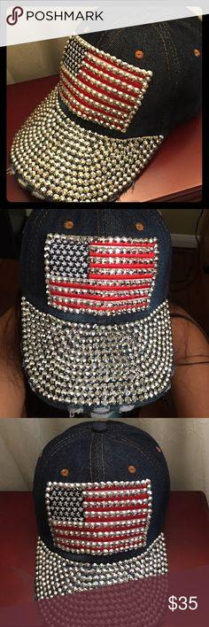 Patriotic USA Flag  Rhinestones Baseball Cap Beautiful Patriotic USA  rhinestones denim baseball cap, adjustable size. NEW Accessories Hats