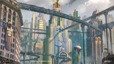 Acropolis by J.Otto Szatmari : ImaginaryDieselpunk Art Nouveau, Fantasy Forest, Futuristic City, Acropolis, Art Deco Era, Future City, Fantasy Landscape, Sci Fi Fantasy, Paris