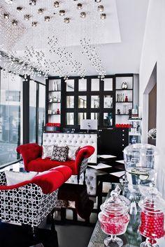 Famous Starlets were the theme of this Moulin Rouge-esque Lash Boutique. Black,…