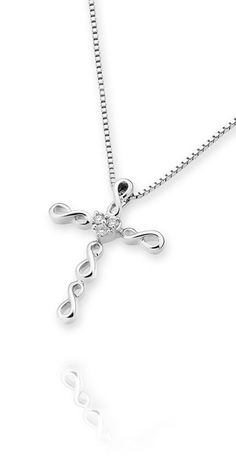 Infinity Cross Diamond Pendant - 18K White Gold (FREE 925 Silver Box Chain) --- This is a very special design pendant and make up the cross shaped by four infinity sign. In the center, the three brilliant round diamond to form the heart shaped. Material: 18K / 750 White Gold.  Minimum Round Diamond Weight: 0.08 cttw (3 Round Diamond).  Dimension: 10 mm (L) x 7 mm (W)  *** Free Global Shipping *** US$373.33