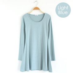Cute & Comfy ~ Light blue long-sleeve jersey knit dress.  Soft cotton knit casual easy-to-wear mini dress,