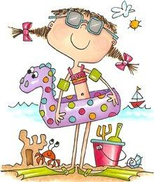This is adorable! Certainly fun inspiration for summer products :) :) how summer makes me feel Cartoon Drawings, Cute Drawings, Cute Images, Cute Pictures, Art Fantaisiste, Art Mignon, Summer Clipart, Cute Clipart, Watercolor Cards