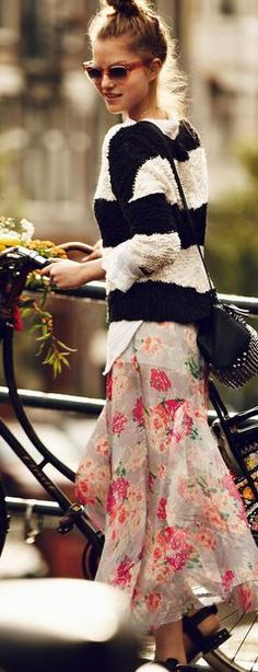 Floaty floral skirt meets stripes. Unexpected but beautiful twist.