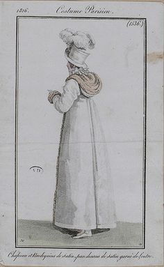 1816 Costume Parisien. Hat and boots of satin, overcoat of satin trimmed with otter (fur).