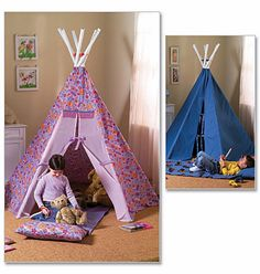 Childs' Tepee Sewing Pattern includes Sleeping Mat di blue510, $4.00
