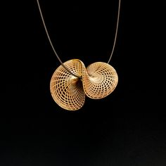 Twisted 14k Gold Pendant Necklace - Abstract Disk Pendant, 3D Printed Jewelry…
