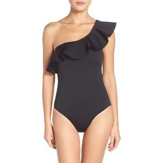 Women's Ted Baker London Ruffle One-Piece Swimsuit (2.630 ARS) ❤ liked on Polyvore featuring swimwear, one-piece swimsuits, black, asymmetrical swimsuit, swim suits, ted baker, frilly bathing suit and ruffle swimsuit