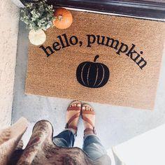 "the ""hello, pumpkin"" doormat - fall doormats - door decor - halloween - pumpkin - entryway - autumn - home decor - thanksgiving - trampa Fall Home Decor, Autumn Home, Fall Inspiration, Fall Doormat, Porches, Decoration Entree, Happy Fall Y'all, Craft Night, Hello Autumn"