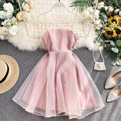 Cute Casual Outfits, Pretty Outfits, Pretty Dresses, Beautiful Dresses, Pink Dresses, Cheap Dresses, Elegant Homecoming Dresses, Tulle Prom Dress, Chiffon Dress