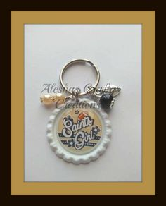Saints Girl Football Girl Key Chain by AleshasBottleCaps on Etsy