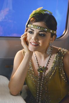 Aria Montgomery in a unique vintage green and silver embroidered reproduction 1920's flapper dress... season 3 episode 13   My halloween costume this year!!!