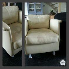 NEW FAUTEUIL  Vorige week twee van deze stoeltjes opgehaald. Een van deze gaan jullie op de aankomende markten zien. Hier gaan we wat leuks mee doen zodat iedereen weet dat we onze tassen van oude bankstellen maken! Het andere stoeltje gaan we mooie suède tassen van maken. #secondlife #handmade #couch #leather #market