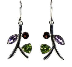 Branch Peridot, Amethyst and Garnet Earrings - a  triangle facet cut green peridot, a marquise shaped facet cut purple amethyst, and a round facet cut red garnet form the perfect trio!  http://simplybeautiful2012.com/branch-peridot-amethyst-and-garnet-earrings.html#