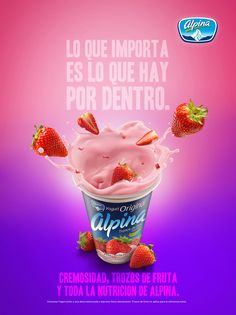 Yogurt Alpina Fresa on Behance