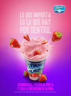 Yogurt Alpina Fresa on Behance Food Poster Design, Creative Poster Design, Ads Creative, Creative Posters, Creative Advertising, Advertising Design, Ad Design, Flyer Design, Social Media Banner