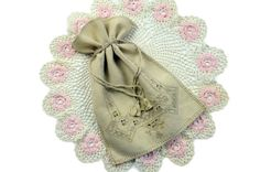 Vintage Drawstring Bag Purse Drawn Thread Cut Work Handmade by PlumsandHoney http://ift.tt/1wkTB66