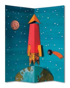 rocket pop up book Arte Pop Up, Pop Up Art, 3d Cards, Folded Cards, Rocket Pop, Tarjetas Pop Up, Paper Pop, Karten Diy, Paper Engineering