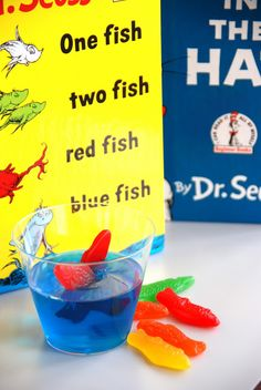 Dr. Seuss Snacks!  Swedish fish in jello! Or for a bday party!