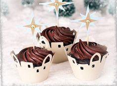 Christmas cupcake toppers Christmas cupcake wrappers by evescrafts