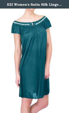 EZI Women's Satin Silk Lingerie Nightgown ,Emerald Green,XXL. This Sliky Womens Nightgown will make you look great. The lightweight sliky material, keeps you cool and will provide a faltering fit for any size women. Lace Detailing near the bust/neckline gives a sexy touch. Available in Regular & Plus Size.