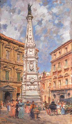 Carlo Brancaccio (1861-1920) - Piazza San Domenico Maggiore