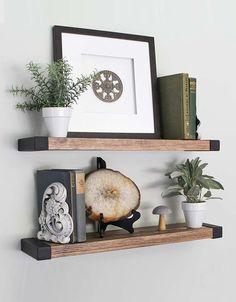 Modern Floating Shelves, Floating Shelves Bedroom, Floating Shelf Decor, Rustic Shelves, Wooden Shelves, Industrial Wall Shelves, Decorative Wall Shelves, Floating Wall, Hanging Shelves