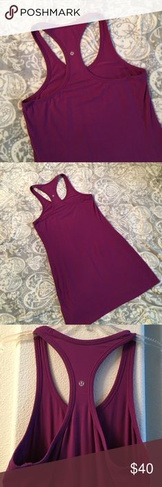 New Listing! Lululemon Racerback Tank Dress This is a great piece! Can be worn as a dress or over a swimsuit or over leggings.  Violet color. No tag but bust measures 36 -size 8- and length is 36 inches. Feels like a cotton/spadex blend. Excellent preowned condition! lululemon athletica Dresses