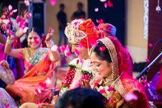 flower shower during indian wedding