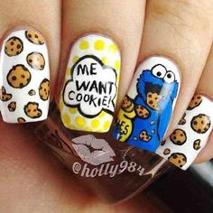These Cookie Monster nails are the perfect beauty nostalgia. Crazy Nail Art, Crazy Nails, Cute Nail Art, Love Nails, Pretty Nails, Fun Nails, Cute Nail Designs, Acrylic Nail Designs, Gel Polish Designs