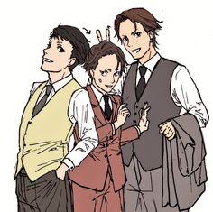 Kaminaga, Miyoshi, and Amari, from Joker Game