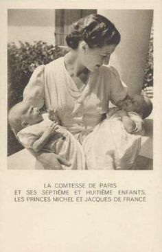 Isabelle, Countess of Paris, with her children Prince Michel and Prince Jacques d'Orlean