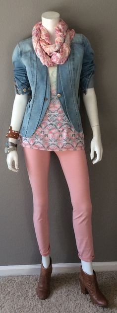 Daily Look:  CAbi Spring '15 Nectar Skinny Jean, Mosaic Print Cami, Jeanie Jacket & Candy Print Scarf w booties.  #springfashion #cabiclothing