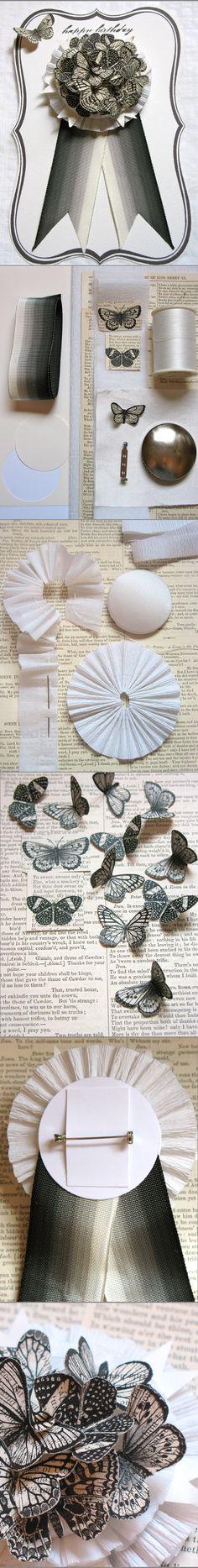 DIY: Butterfly Badge tutorial -- by Denise Sharp of Studio d.Sharp via Poppytalk http://poppytalk.blogspot.ca/2012/08/diy-butterfly-badge.html